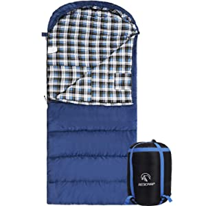 "REDCAMP Cotton Flannel Sleeping Bag for Adults, 23/32F Comfortable, Envelope with Compression Sack Blue/Grey 2/3/4lbs (91""x35"")"