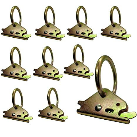 O-Rings Tie Down Cargo Loads to ETrack TieDown System FishYuan 10 Pack Heavy Duty Steel E-Track O Ring Tie-Down Anchors w//E Track Spring Fitting Attachments