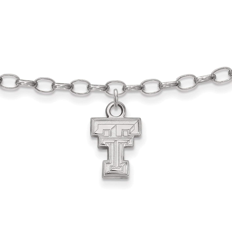 Bonyak Jewelry Sterling Silver Rh-Plated LogoArt Texas Tech University Anklet