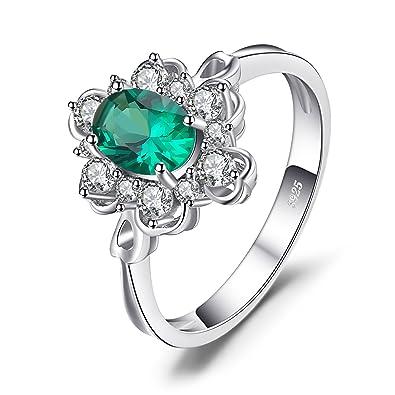 04f8a9f7b26b JewelryPalace Elegante Oval 0.7ct Creado Verde Nano Russo Esmeralda  Solitario Aniversario Promesa Anillo 925 Plata Esterlina Tamaño 17   Amazon.es  Joyería