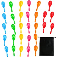 Resinta 30 Pieces Neon Maracas Shakers Mini Noisemaker Bulk Colorful Noise Maker with Drawstring Bag for Mexican Fiesta…