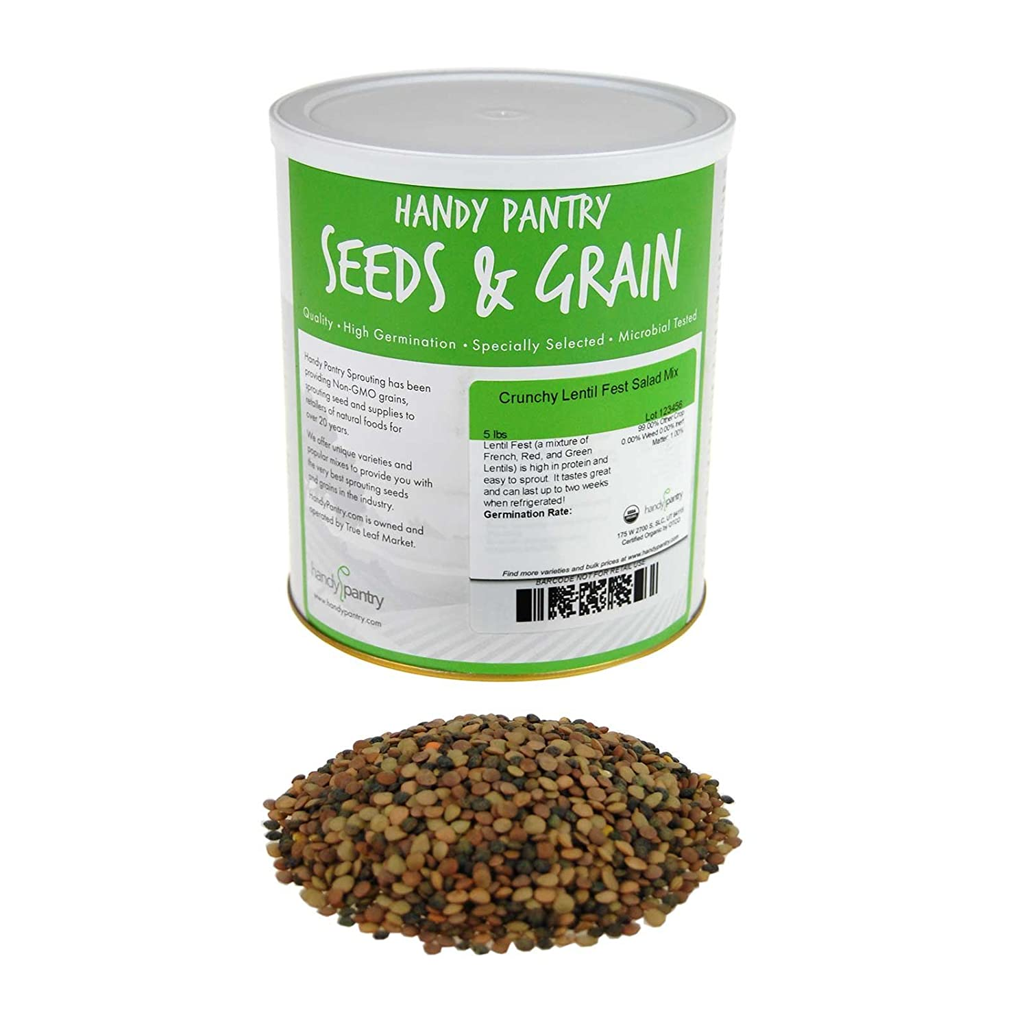 Crunchy Lentil Fest Sprouting Seed Mix- 5 Lbs- Organic- Green, Red & French Lentils- Edible Seeds, Salad, Soup, Sprouts & Food Storage