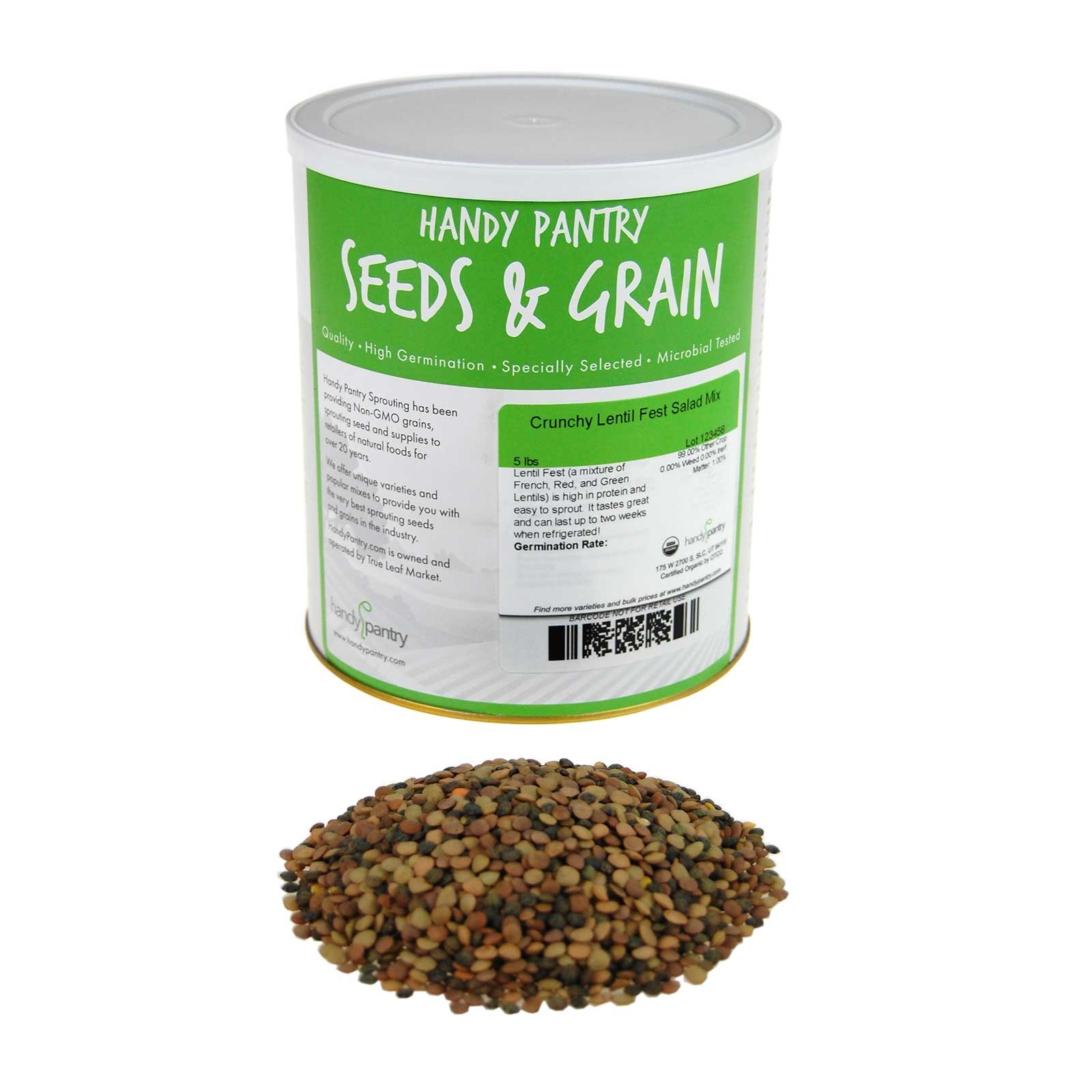 Handy Pantry Crunchy Lentil Fest Sprouting Seed Mix- 5 Lbs- Organic- Green, Red & French Lentils- Edible Seeds, Salad, Soup, Sprouts & Food Storage