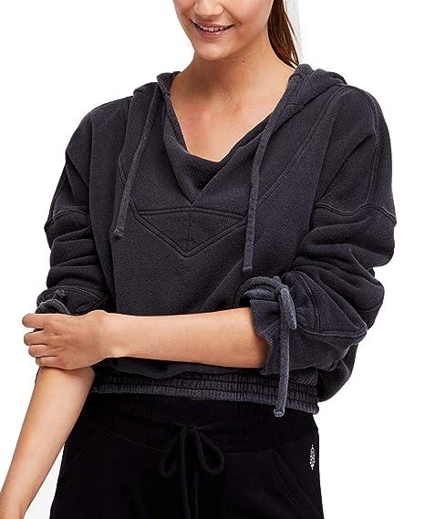 Free People Womens Tie-Cuff Hoodie Sweatshirt