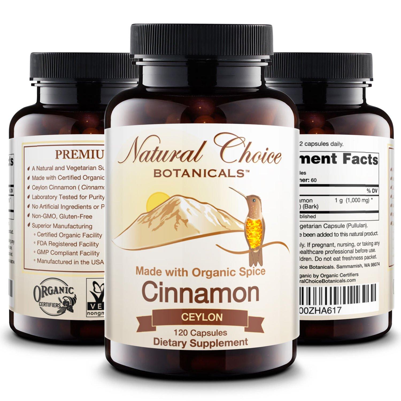 Certified Organic Ceylon Cinnamon Supplement - 120 Veggie Capsules, Non-GMO Verified