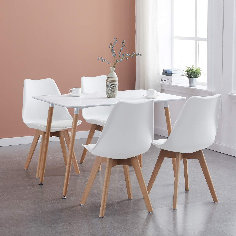 Ipotius Tavolo Da Pranzo Con 4 Sedie Moderno Set Sala Da Pranzo Tavolo Rettangolare E Sedie Da Cucina Bianca Amazon It Casa E Cucina