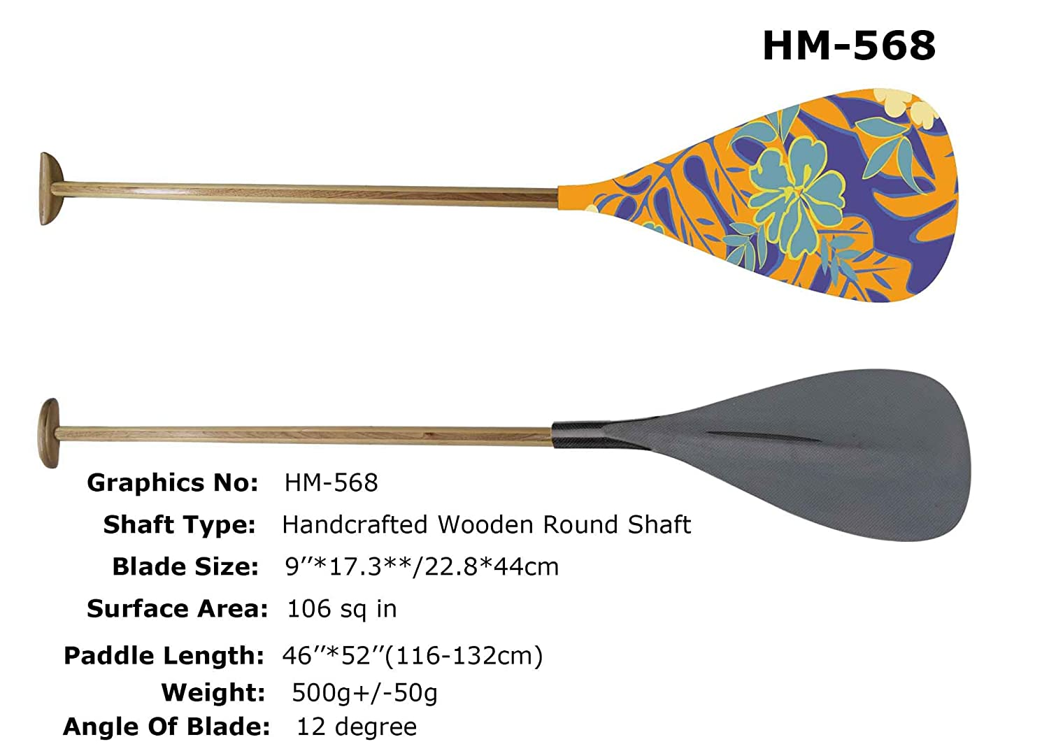 ZJ Lightweight Carbon Outrigger Canoe OC Paddle With Carbon Straight Shaft
