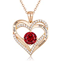 CDE Forever Love Heart Necklaces 925 Sterling Silver Birthstone Pendant Rose Gold Plated Necklace for Women Anniversary…