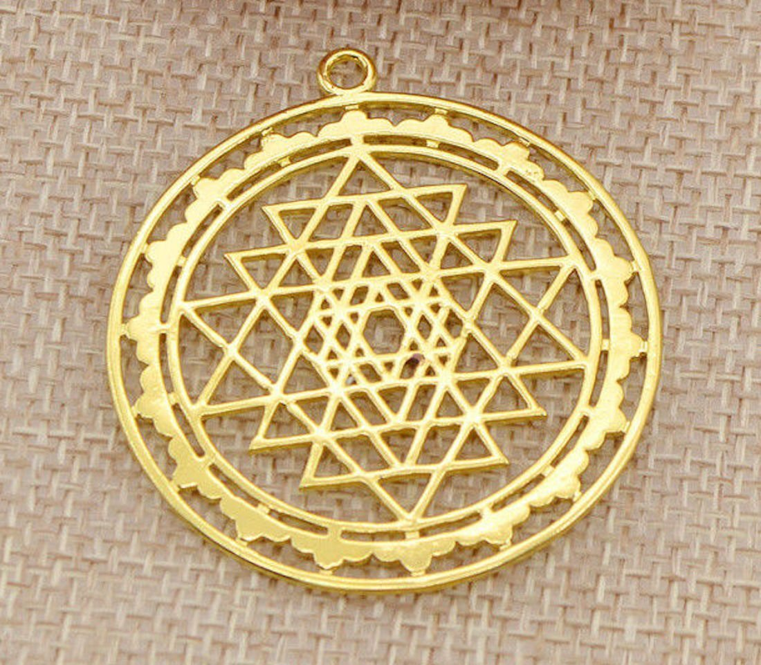 Energized Gold plated hollowed Sri Yantra Pendant Necklace