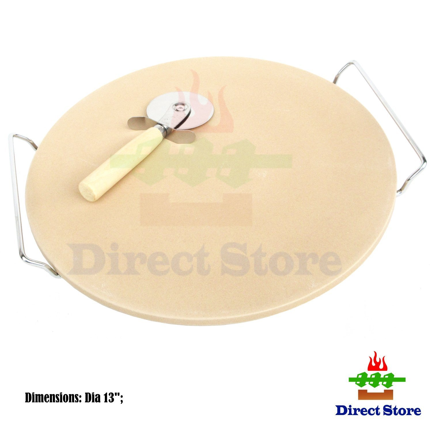 Direct store Parts DJ102 (13 inch) Round oven Ceramic Pizza Stone and Pizza Cutter, For Oven