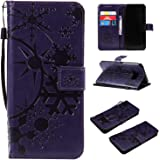 Galaxy S8 ケース CUSKING 手帳型 ケース ストラップ付き かわいい 財布 カバー カードポケット付き Samsung ギャラクシー S8 マジックアレイ ケース - パープル