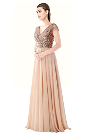 MonaBridal Womens Sequined V Neck Sexy Bridesmaid Dress Chiffon Prom Gown Long Rose Gold 2