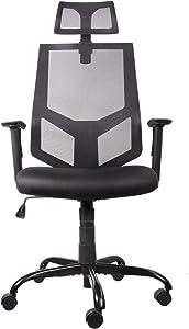 Smugdesk High Back Ergonomic Task Chair with Adjustable Headrest, Breathable Mesh, Rock Function, Black