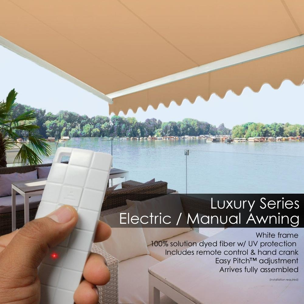 ADVANING 16 x10 MOTORIZED Patio Retractable Awning LUXURY Series PREMIUM Quality, 100 Solution-Dyed European Acrylic UV Sun Shade, Color Khaki, EA1610-A100H2