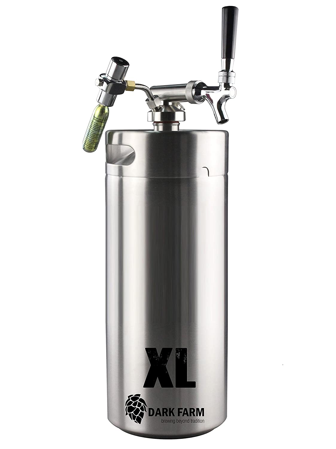 Portable Home Brew Draft System 10L Mini Keg/Growler with CO2 Dispenser Dark Farm