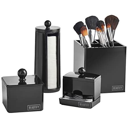 Beautify 4 Piece Storage Organiser Set For Makeup, Accessories U0026 Toiletries    Black