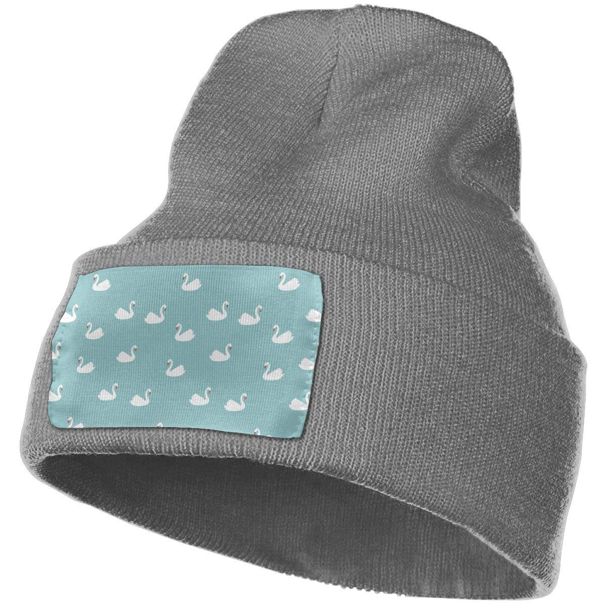 Yubb7E Swan Warm Knit Winter Solid Beanie Hat Unisex Skull Cap