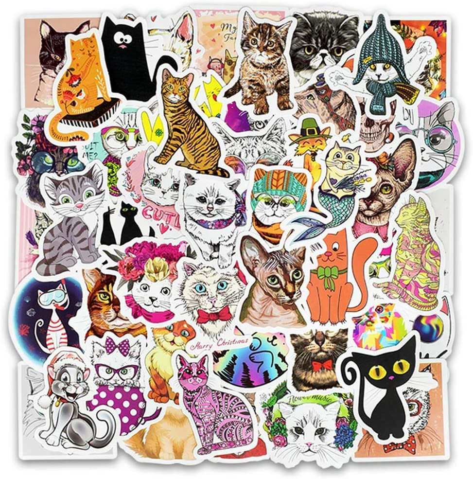 Girl Cute Cartoon cat Laptop Stickers Car Skateboard Motorcycle Bicycle Luggage Guitar Bike Decal 50pcs Pack for Kids Children Gift