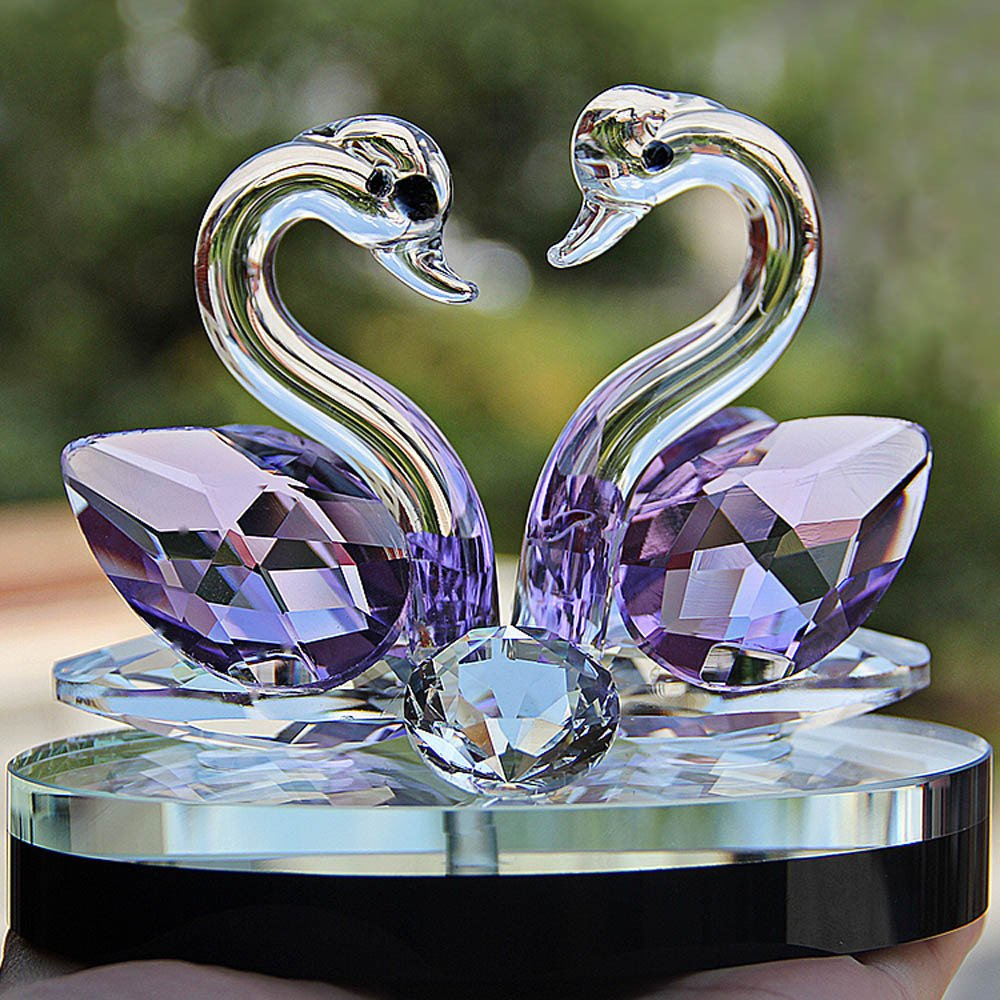 Gotian 8cm Crystal Swan Wedding Decor Paperweight Figurine Gift Crafts Home Decor (Purple)