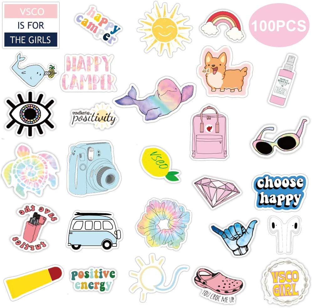 VSCO Stickers Pack for Water Bottle 100 PCS Trendy Stickers Waterproof Cute Aesthetic Laptop Stickers Pack for Girls Teens Kids