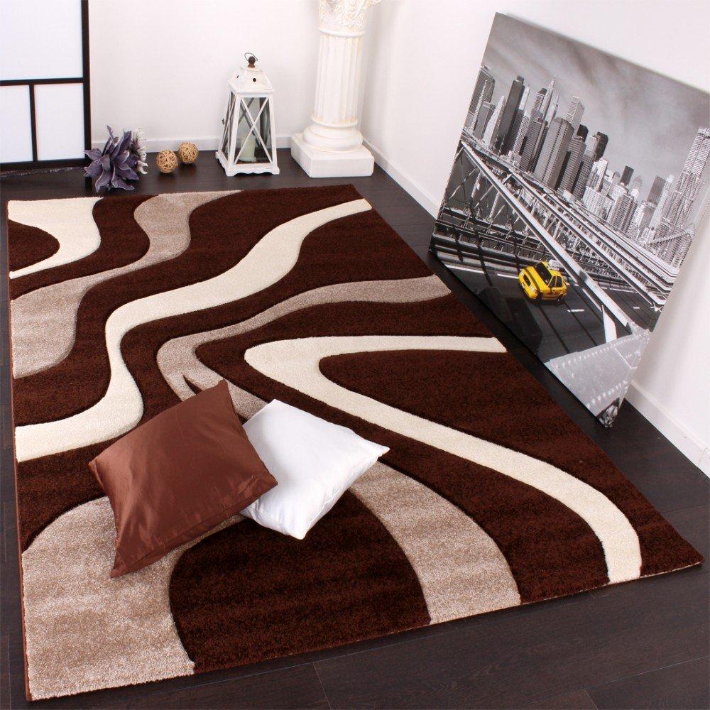 PHC Designer Teppich mit mit mit Konturenschnitt Wellen Muster Braun Beige Creme, Grösse 200x290 cm bae9f3