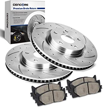 2 Front Drill Slot Brake Disc Rotors 4 Pads For Toyota Camry//Avalon Lexus ES350