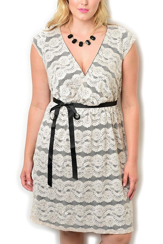 DHStyles Women's Plus Size Wrap V Neck Lace Dress With Sash