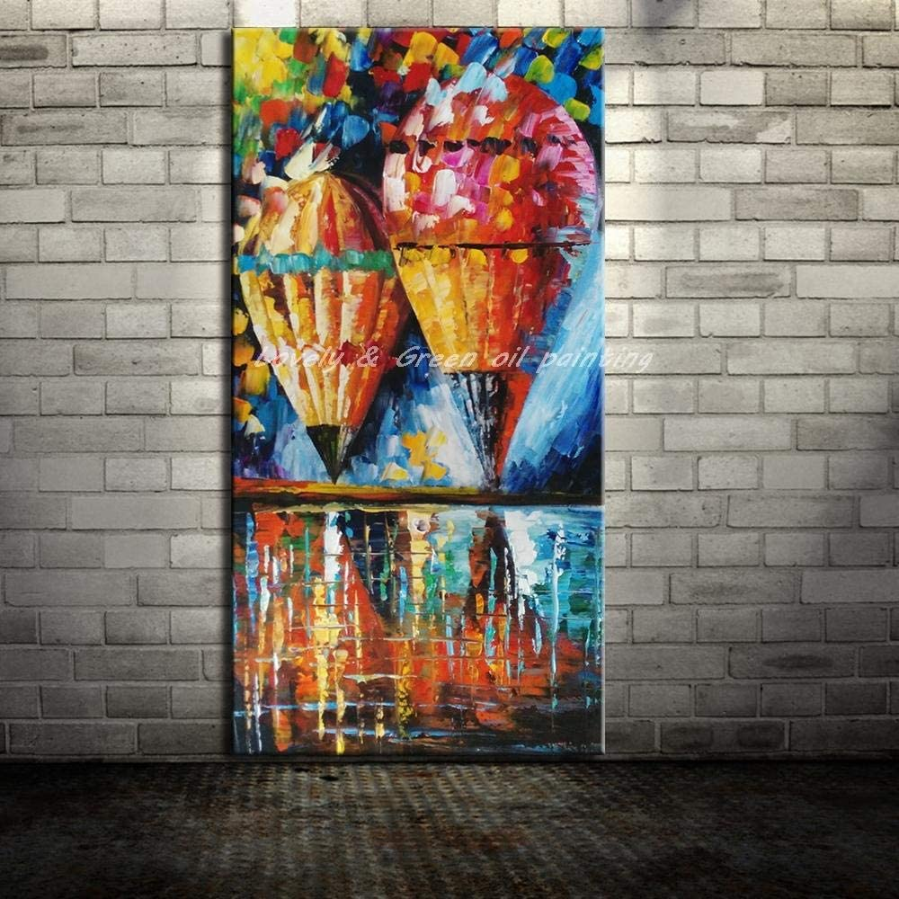 Hand Painted Oil Painting On Canvas, Unframed 3D Landscape Paintings,Vertical Colorful Hot Air Balloons,Modern Abstract Large Wall Art Decor For Living Room Bedroom Office Hotel
