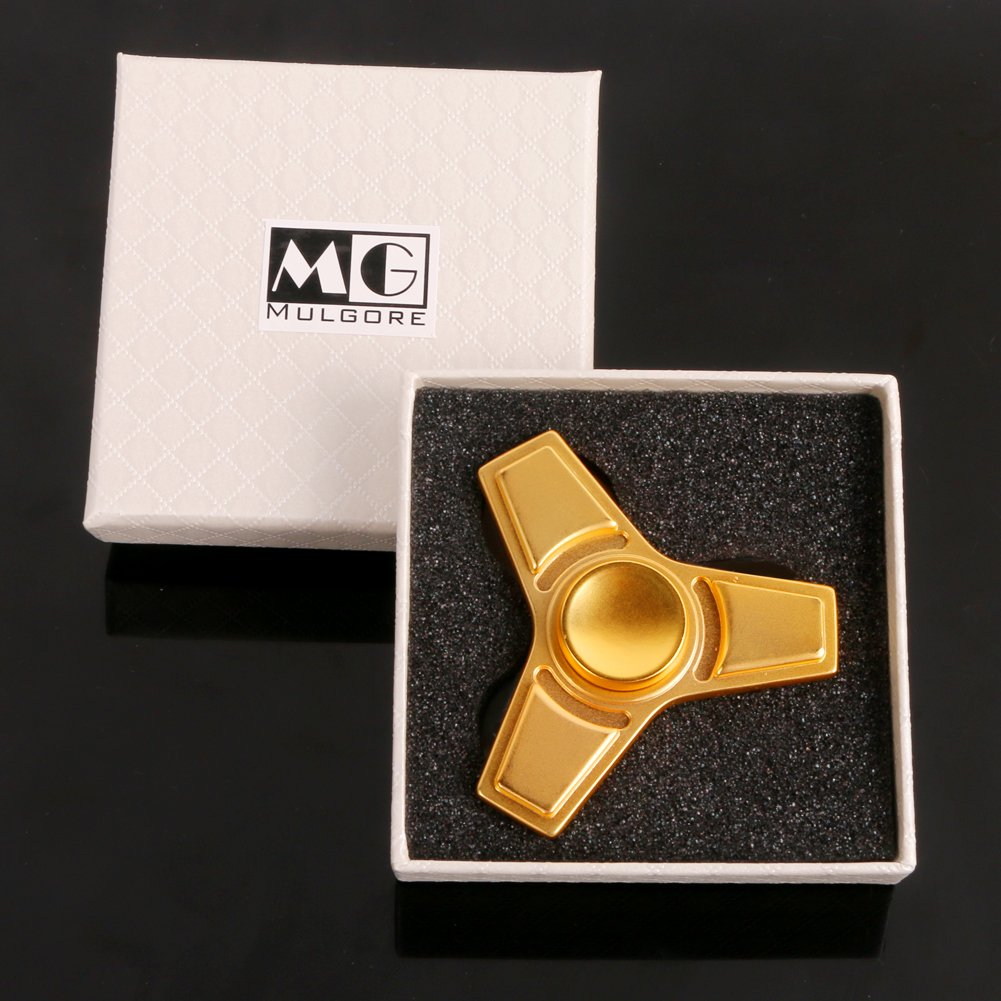 MULGORE Fidget Spinner Hand Spinner EDC Toys Hot Explosion 2017 Made with Premium Quality Ultra Durable High Speed 1-5 Min Spins (square gold)
