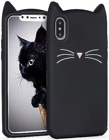 Imikoko iPhone X ケース シリコン 猫 おしゃれ かわいい キャラクター 耐衝撃 黒 人気 アイフォンXケース