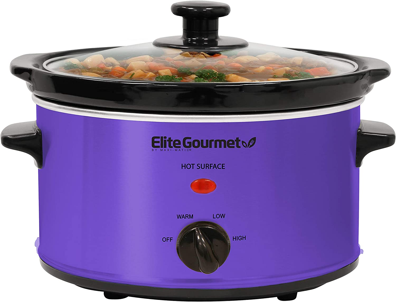 Elite Gourmet MST-275XP Electric Slow Cooker, Adjustable Temp, Entrees, Sauces, Stews & Dips, Dishwasher-Safe Glass Lid & Ceramic Pot, 2Qt Capacity, Purple
