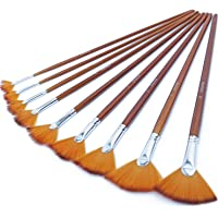 Repino Fan Brush Set of 2 Professional Artist Paint Brushes for Oil Painting Size #3 and #6