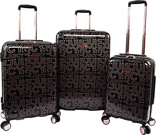 Juicy Couture Women s Florence 3-Piece Hardside Spinner Luggage Set, Black Rose Gold, One Size