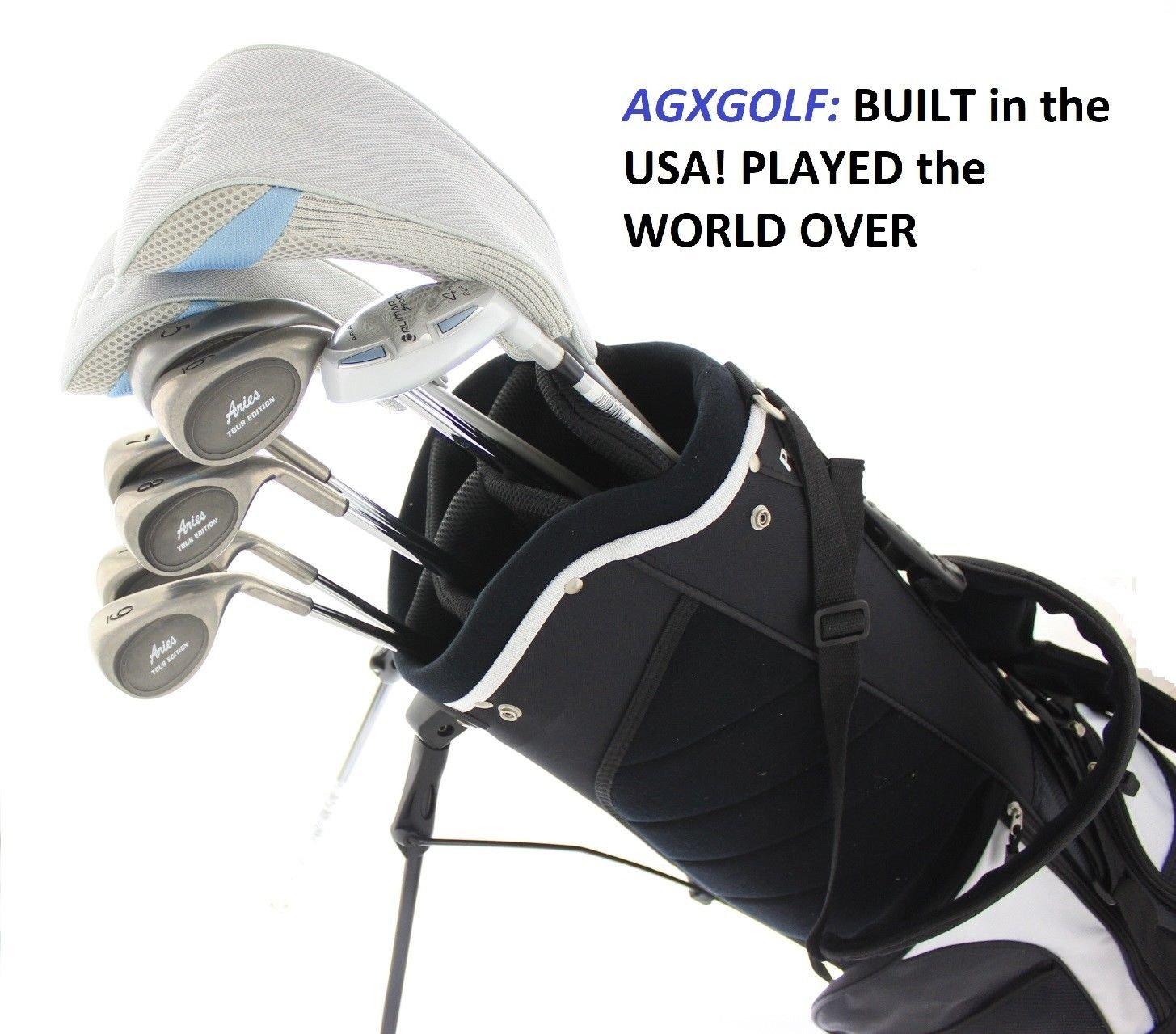 AGXGOLF レディース 右手 XLT ゴルフクラブセット スタンドバッグ+ドライバー+3 Wd+ハイブリッド+5-9 アイアン+ピッチングウェッジ+フリーパター:プチ、レギュラーまたはトールレングス; 米国製組立。  Tall Length