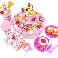 YiyiLai Kids Play House Pretend Play Cutting Food Birthday Cake Toy 103PCS Pink