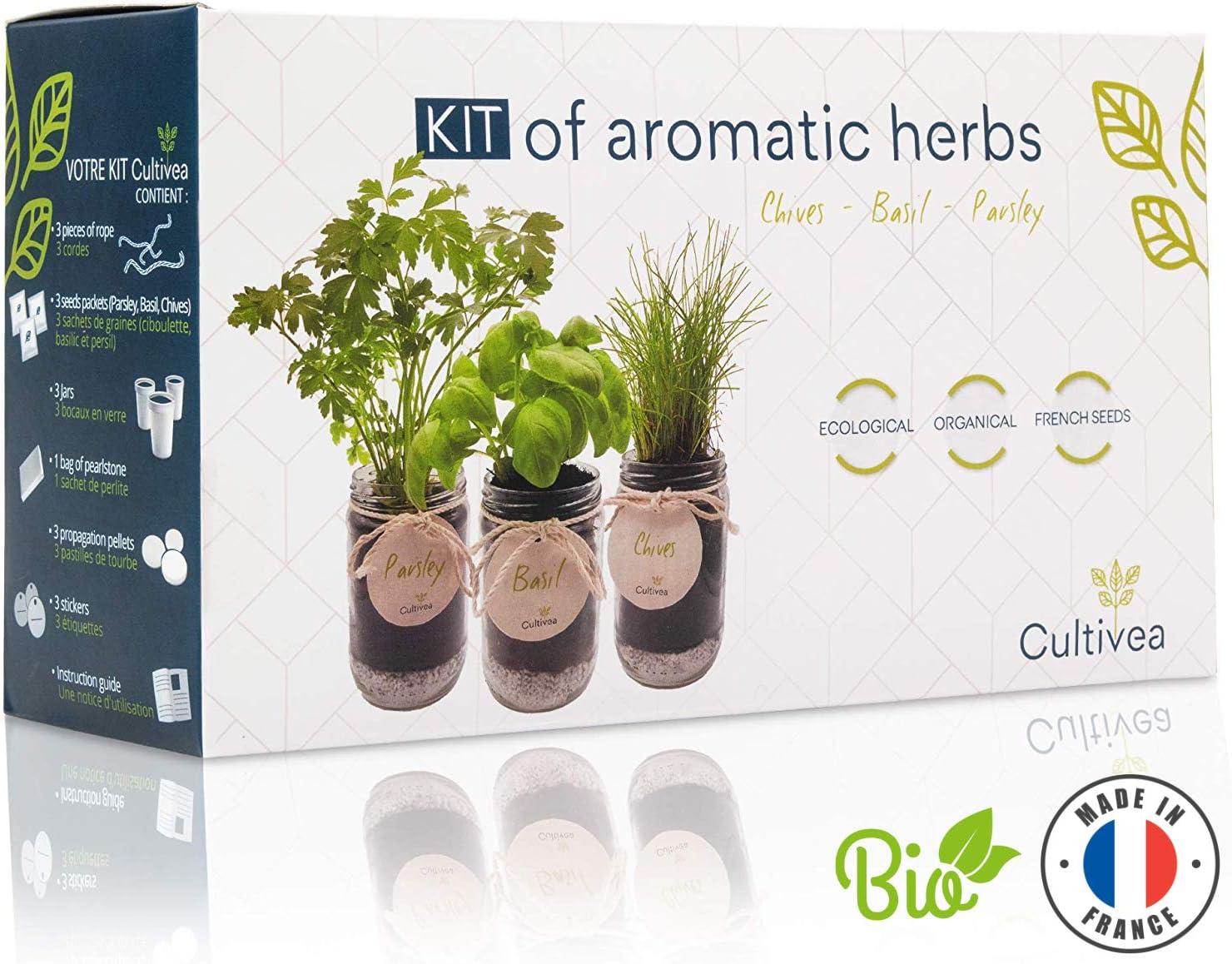 Cultivea Kit completo de hierbas - Cultive propias hierbas aromáticas - 100% ecológicas: semillas orgánicas, bio seeds - Decora tu hogar con un huerto urbano. (Cebollino, Albahaca, Perejil)