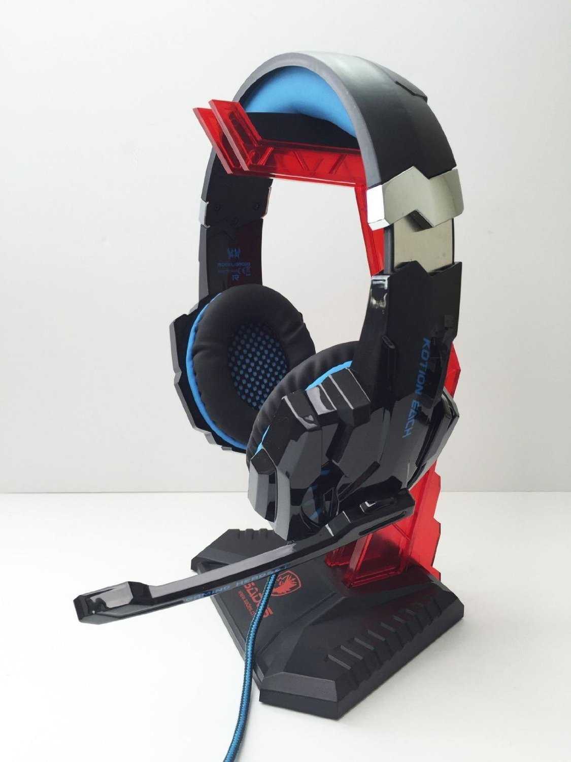 Sades S-xlyz Gaming Headset Cradle, Acrylic Headphone Bracket Stand, Head-Mounted Display Rack Headphone Hanger Holder for Gamers (Red)