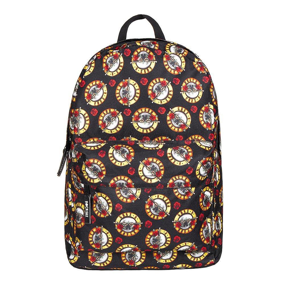 RockSax X Guns N  Roses All Over Logo Print Backpack (Black)  Amazon.co.uk   Shoes   Bags 3612111e8b996