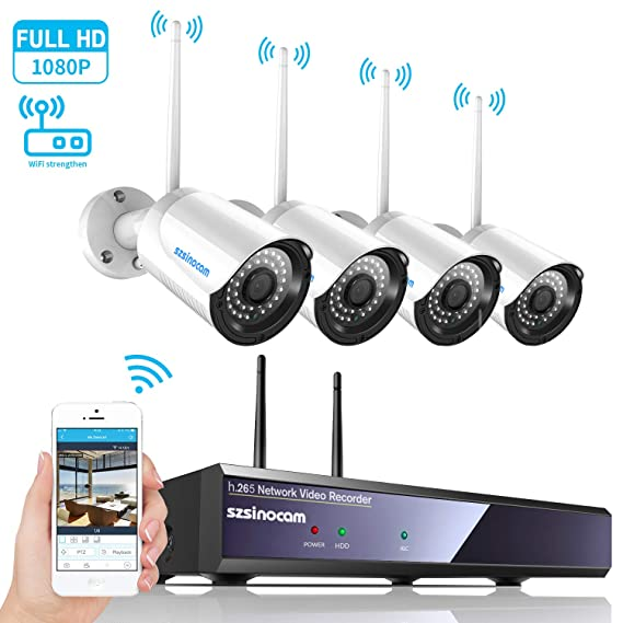 Sistema de Cámara de Seguridad, SZSINOCAM 1080P NVR Wifi Cámara IP Wireless Sistema de Seguridad Kit IP66 Impermeable Cámaras IR Visión Alarma por ...