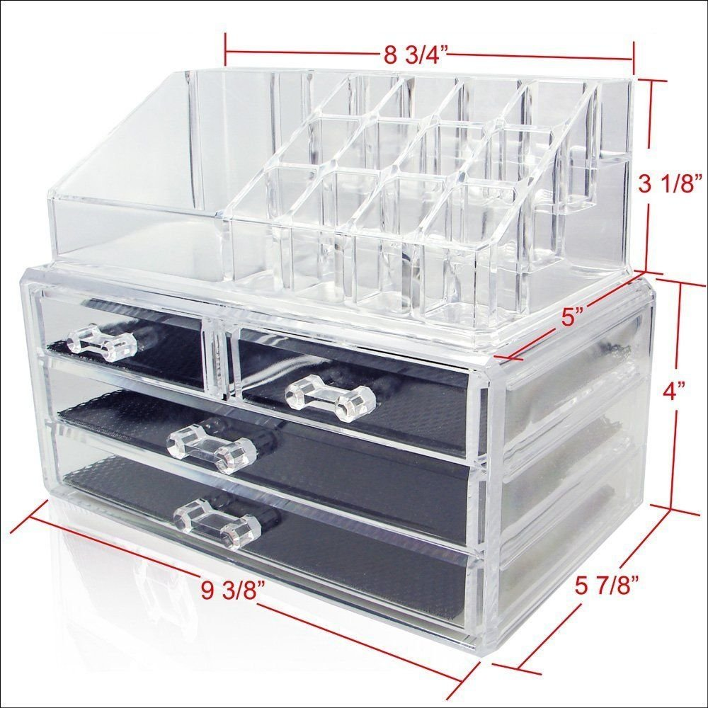 Generic YC-US2-151027-114 <8&24791> s ClearJewelry Che Jewelry Chest Cosmetic Holder Make Up Case Large 4 Drawers Organizer 2 pcs Clear Cosmetic Ho by Generic