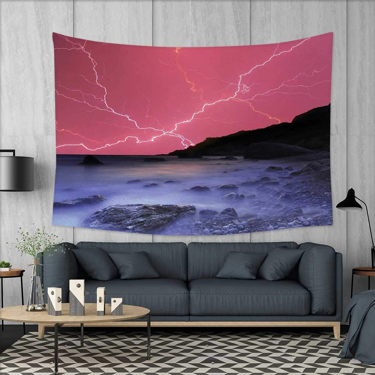 Anniutwo Nature Art Wall Decor Thunderstorm Bolts with Vibrant Colorful Sky Like Solar Phenomenal Nature Picture Tapestry Wall Tapestry W60 x L51 (inch) Pink Grey