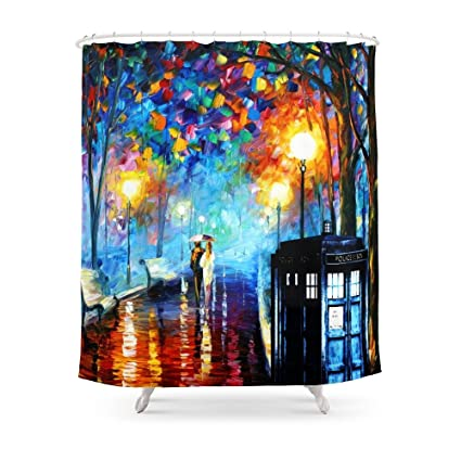 Society6 STARRY NIGHT TARDIS Shower Curtain 71quot