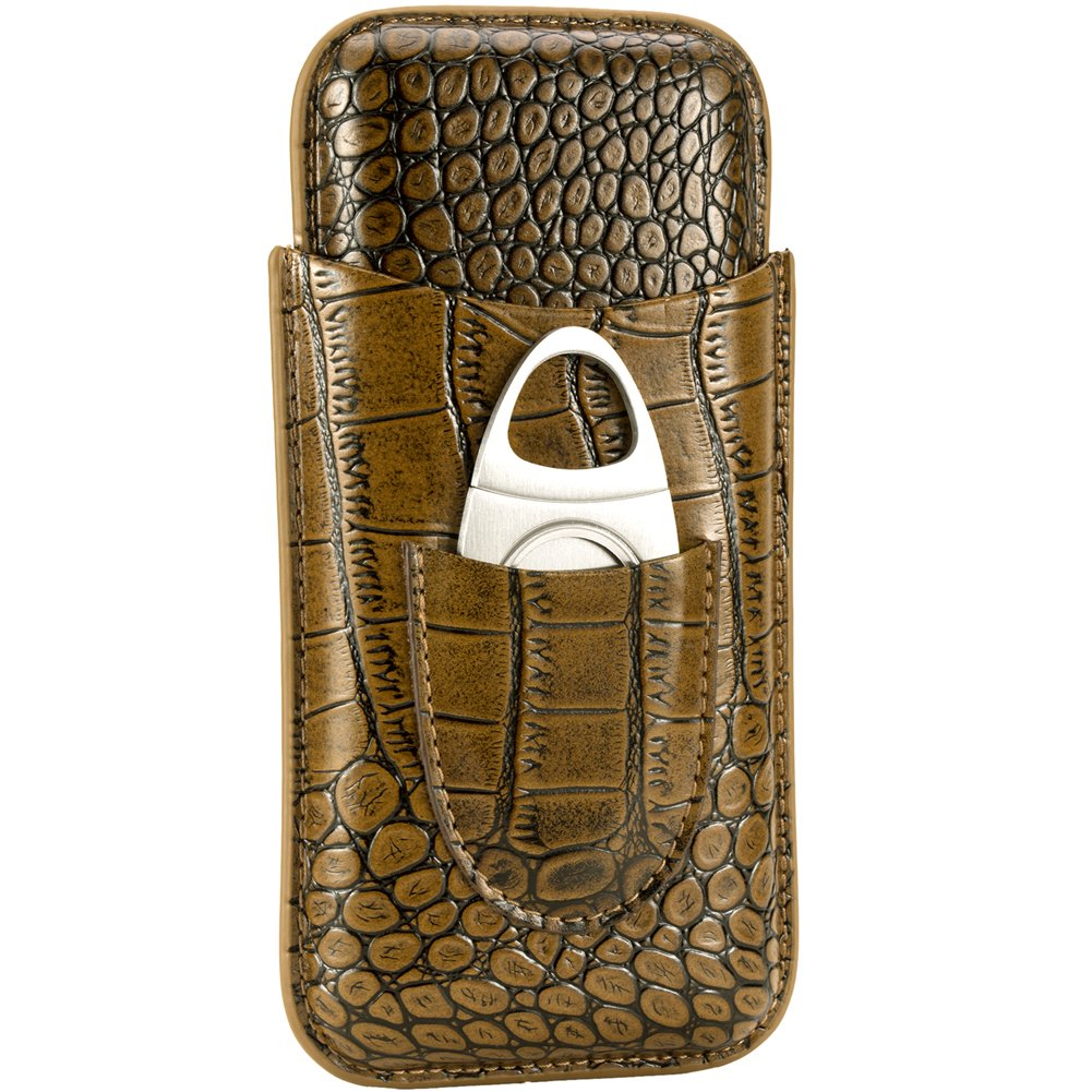 XIFEI crocodile skin texture leather cigar case travel - pure manual cigar box - cutter Included (for 3 cigar)