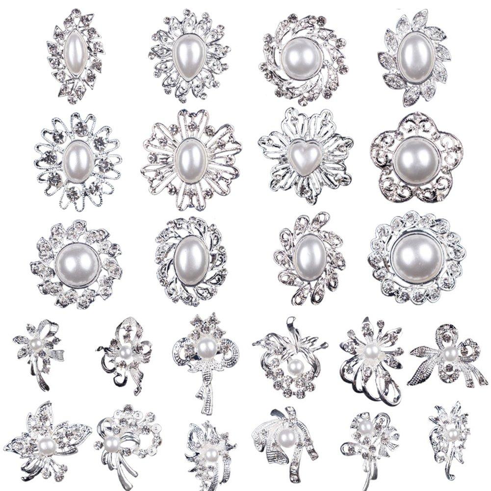 5200cd0279f Mutian Fashion Lot 24pc Clear Rhinestone Crystal Flower Brooches Pins  MF-B24MPP