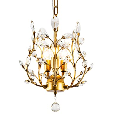 Ganeed Vintage K9 Clear Crystal Chandeliers,Ceiling Lighting,Pendant Lighting Flush Mounted Fixture with 3 Light for Living Room Dinning Room Restaurant Porch Hallway Golden