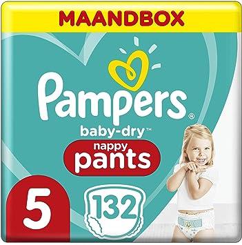 Pampers - Baby Dry Pants - Pañales talla 5 (12-17 kg) - Pack 1 mes (x132 bragas) Easy-On para hasta 12 horas de secado transpirable, paquete mensual: el empaque puede variar: Amazon.es: Salud y cuidado personal