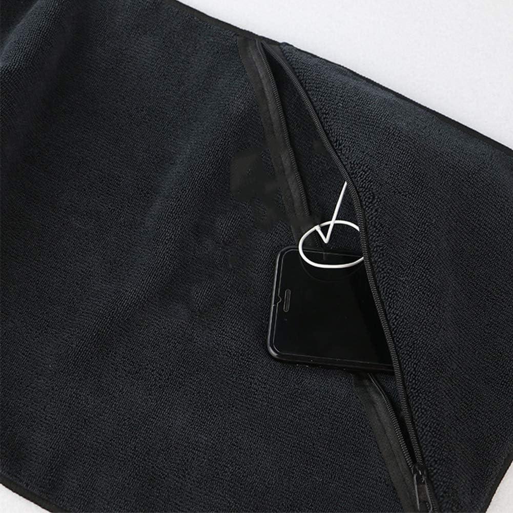 Tama/ño Libre Bolsillo con Cremallera para Deportes de Acampada Negro GCDN Toalla de Microfibra para nataci/ón Negro Gimnasio Secado extralargo
