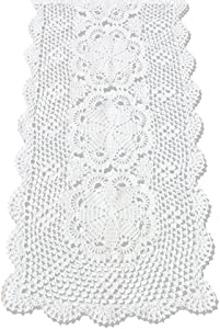 KEPSWET Floral Cotton Handmade Crochet Lace Rectangle Table Runner Dresser Party Decor (14x36 inch, White)