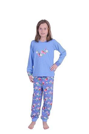 0bc9660b11 Cooler Mädchen Pyjama langarm mit Bündchen gestreift -58718, Farbe :blau;Größe: