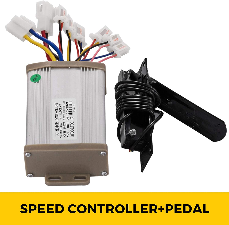 Mophorn Motor de Corriente Continua Cepillado 1000W 48V con Controlador y Pedal Motor El/éctrico Motor de Imanes Motor El/éctrico de Im/án